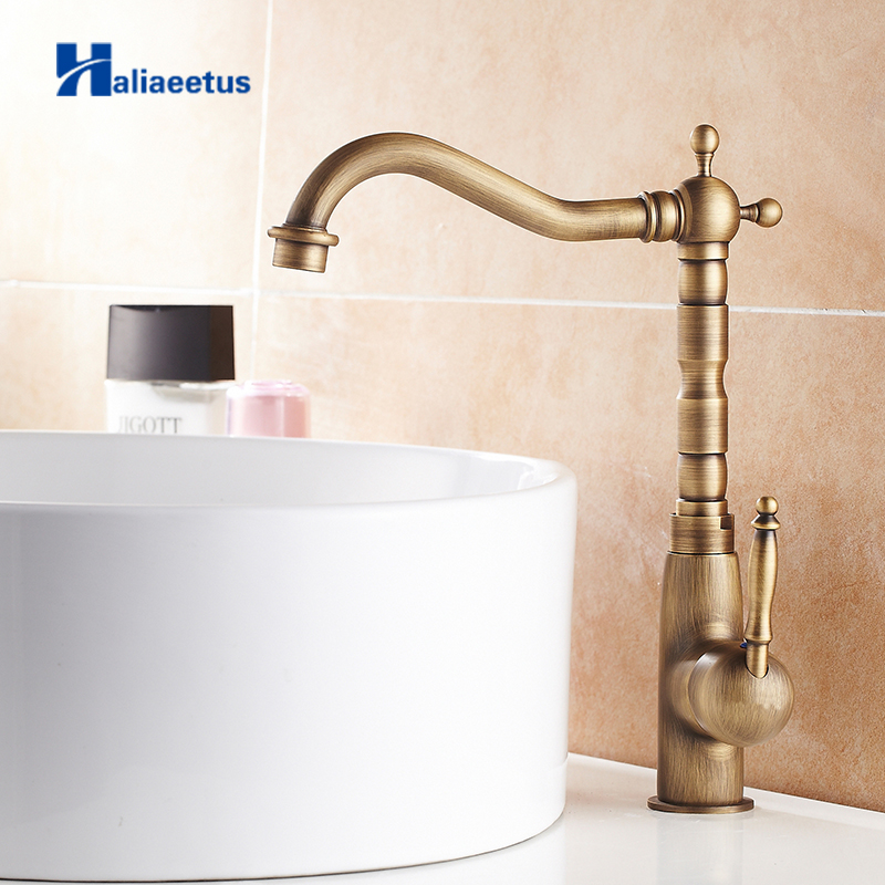 New Arrival Antique Brass Bathroom Faucet Single Handle Hot and Cold Water tap Tall 360 Degree Rotating Lavatory Faucet AB-007V frap new arrival double handle kitchen faucet goose nose tap antique brass hot and cold water mixer 360 degree rotating f4319 4