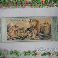 China Antique collection Boutique Calligraphy and painting the Five Tigers diagram