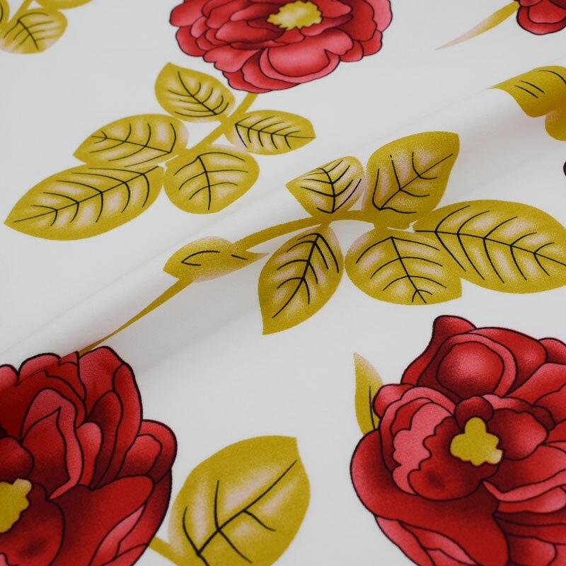 Fond blanc rose laisse teinture réactive stretch coton tissu pour robe manteau tissus au mètre tecido tissu telas tela shabby chic
