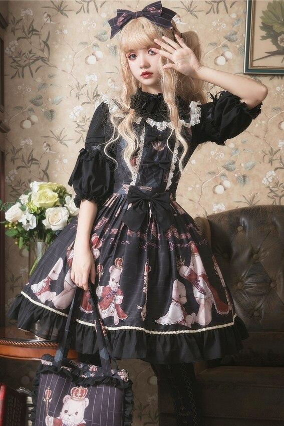 Principessa dolce lolita vestito di Estate e la primavera originale orso stampato vestito dalla cinghia tutti i giorni tutto fiammifero di modo del vestito delle donne ZJY157 - 6