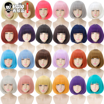 цена на HSIU 35cm short bobo Wig Black white purple blue red yellow high temperature fiber Synthetic Wigs Costume Party Cosplay Wig