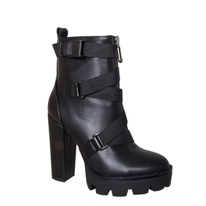 Image 4 - Perixir Zwarte Laarzen Vrouwen 2020 Lente Mode Hak Herfst Lace Up Zacht Leer Platform Schoenen Vrouw Party Enkellaarsjes hoge Hakken