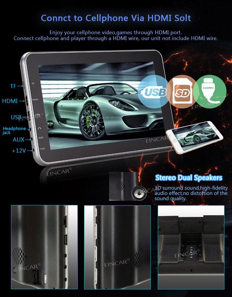 EinCar 10.1Ultra Thin Portable Digital HD Dual Monitos with Touch Keys Twin Headrest DVD Players Car Video Audio Wide Screens