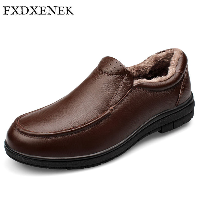 FXDXENEK Brand Genuine Leather Fashion Men Shoes Handmade Autumn Winter Warm Plush High Quality Men Flats Shoes Big Size 37-47 top brand high quality genuine leather casual men shoes cow suede comfortable loafers soft breathable shoes men flats warm