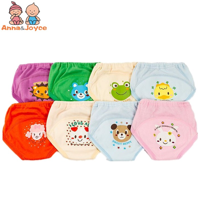 4pc/lot 100% Cotton Baby Toddler Girls Boys 4 Layers Waterproof Potty Training Underwear Panties Reusable Suit 11-15kg