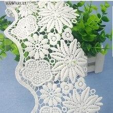 HAWARULU 2yard DIY White double wave width milk yarn lace wedding dress accessories fabric strips decoration