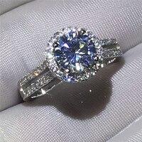 Lüks Kadın yüzük kadınlar için 925 Ayar gümüş Nişan düğün band yüzük 3ct Temizle AAAAA zirkon kristal Bijoux