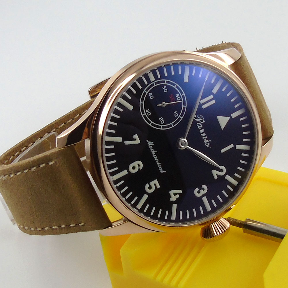Romantic Valentines gifts 44mm parnis Black Dial Silver Hands Rose Golden Plated Case 6498 Hands Wind Mechanical men's Watch