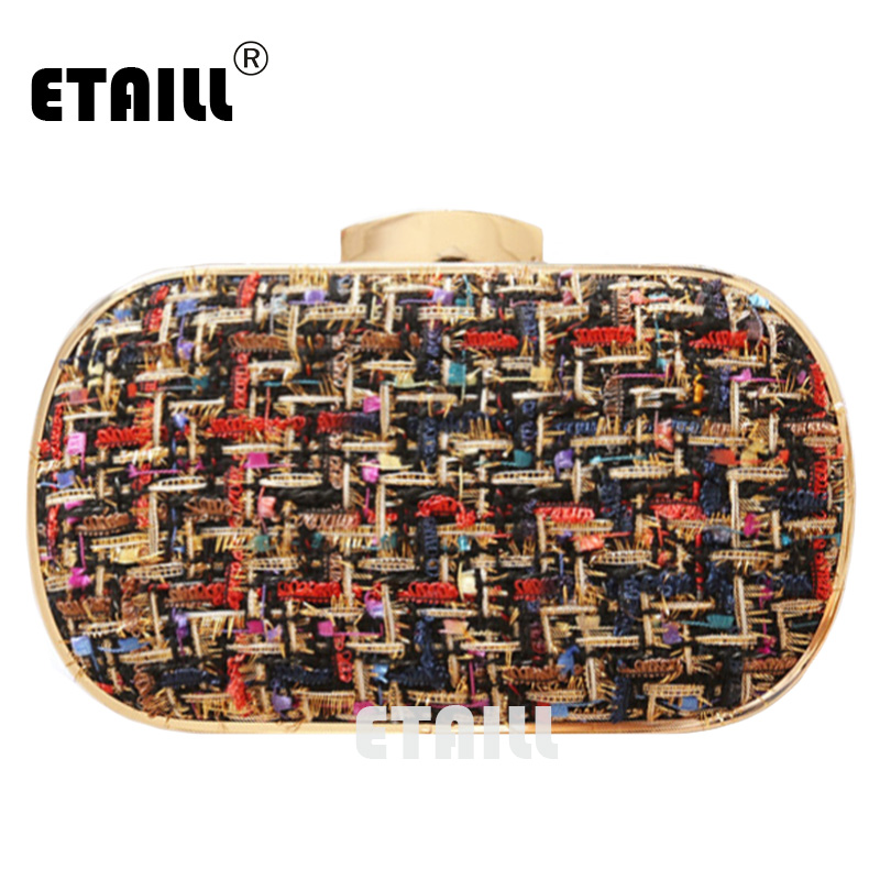 ETAILL Fashion Woolen Brand Designer Clutch Bag Pu Leather Plaid Shoulder Bag Evening Bag Women Crossbody Bags Bolsa For Lady