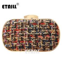 ETAILL Fashion Woolen Brand Designer Clutch Bag Pu Leather Plaid Shoulder Evening Women Crossbody Bags Bolsa For Lady