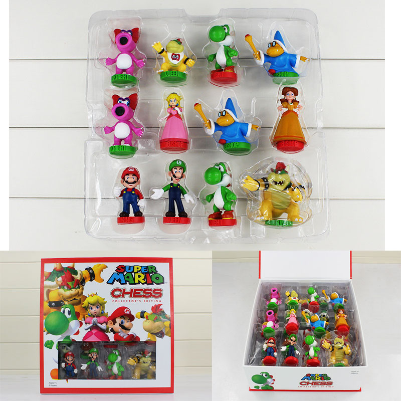 Super Mario Bros Chess PVC Action Figures Toys 3 5 7cm Kids Toy Gifts With Color