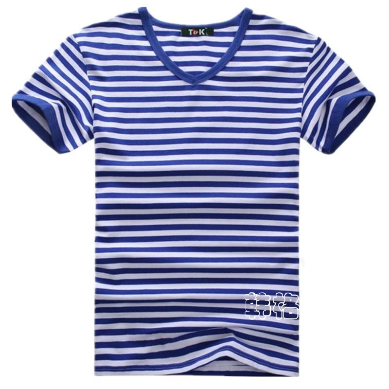 Penghantaran percuma ditambah saiz borong Fesyen jalur T-Shirt Lelaki - Pakaian lelaki - Foto 2