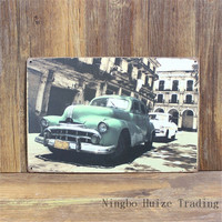 HZ058 Vintage metal painting retro metal tin sign 20cm*30cm Old Building And Cars art poster wall sticker home wall decor