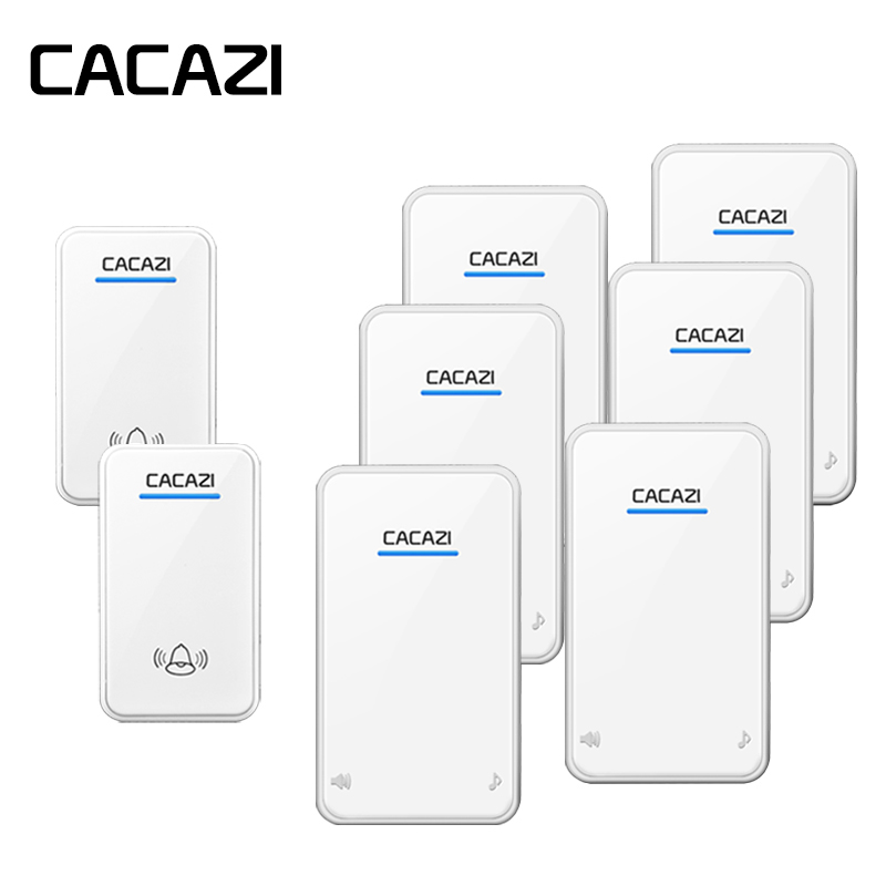 CACAZI Wireless Waterproof Doorbell Battery Button LED Light 300M Remote Home Cordless Calling Bell 48 Chime 6 Volume EU Plug cacazi wireless doorbell waterproof 350m remote 3 battery button 3 receivers 48 chime 6 volume eu plug home cordless bell