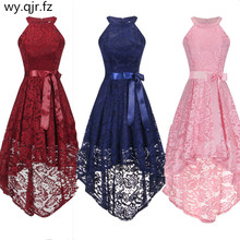 OML 526F # frente curto de volta cor de rosa halter arco vestidos de noite classmate vestido de festa vestido de formatura atacado moda roupas china