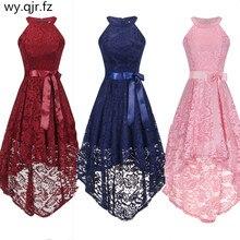 OML 526F # krótki przód długi tył różowy halter łuk suknie wieczorowe kolega z klasy suknia wieczorowa hurtownia modna odzież chiny