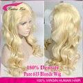 180% Плотность Блондинка Парик Фронта Шнурка 613 Бразильский Объемная Волна Glueless парик Блондинки Бразильский Полный Шнурок Человеческие Волосы Парик С Волосами Младенца