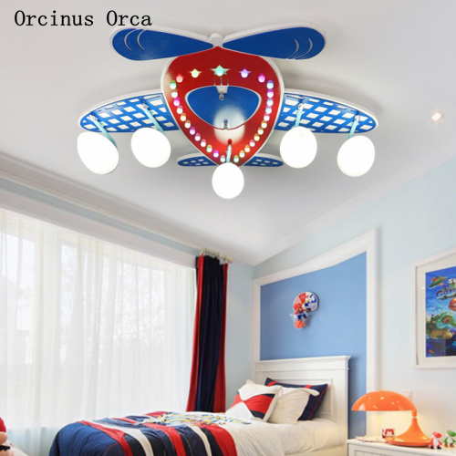 Cartoon Creative Blue Aircraft ceiling lamp Boys'Bedroom Children's Room Lamp American LED Color Fighter ceiling lamp