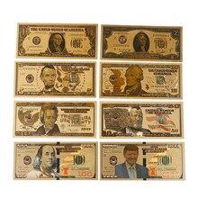 Gran oferta 8 unids/lote 8 diseño diferente dólar estadounidense oro laminada en papel aluminio billete América papel dinero para colección/billete