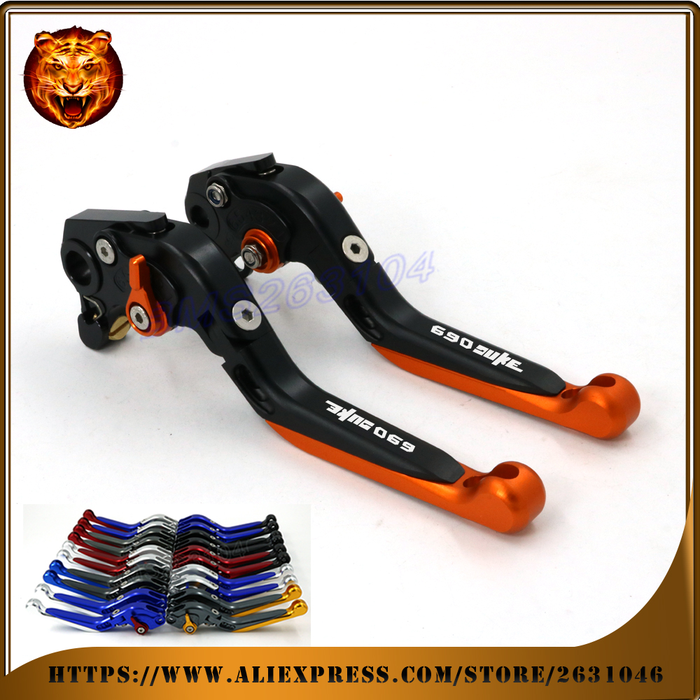 Adjustable Folding Extendable Brake Clutch Lever For KTM 690 DUKE R 690DUKE 2012 2013 Orange LOGO Free shipping Motorcycle cnc motorcycle adjustable folding extendable brake clutch lever for yamaha xt1200z ze super tenere 2010 2016 2012 2013 2014 2015