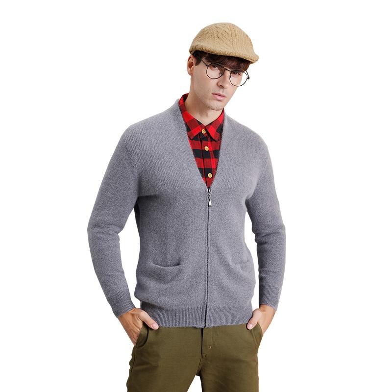 ZHILI Mens Cashmere V-Neck Knit Sweater Zipper Coat