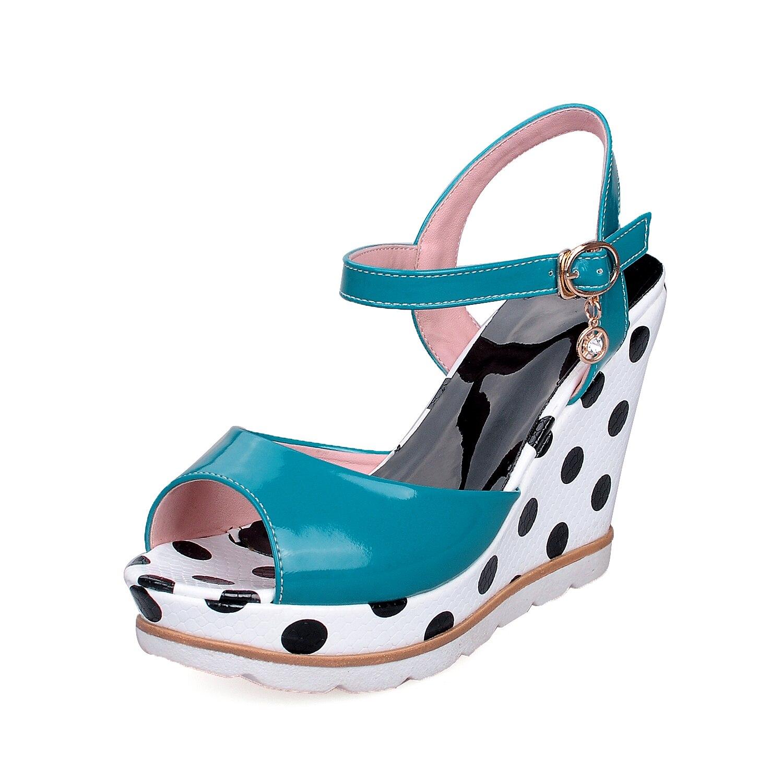 ESRFIYFE Plus Size 10 Women Sandals Ankelband Straw Platform Wedges - Damskor - Foto 2