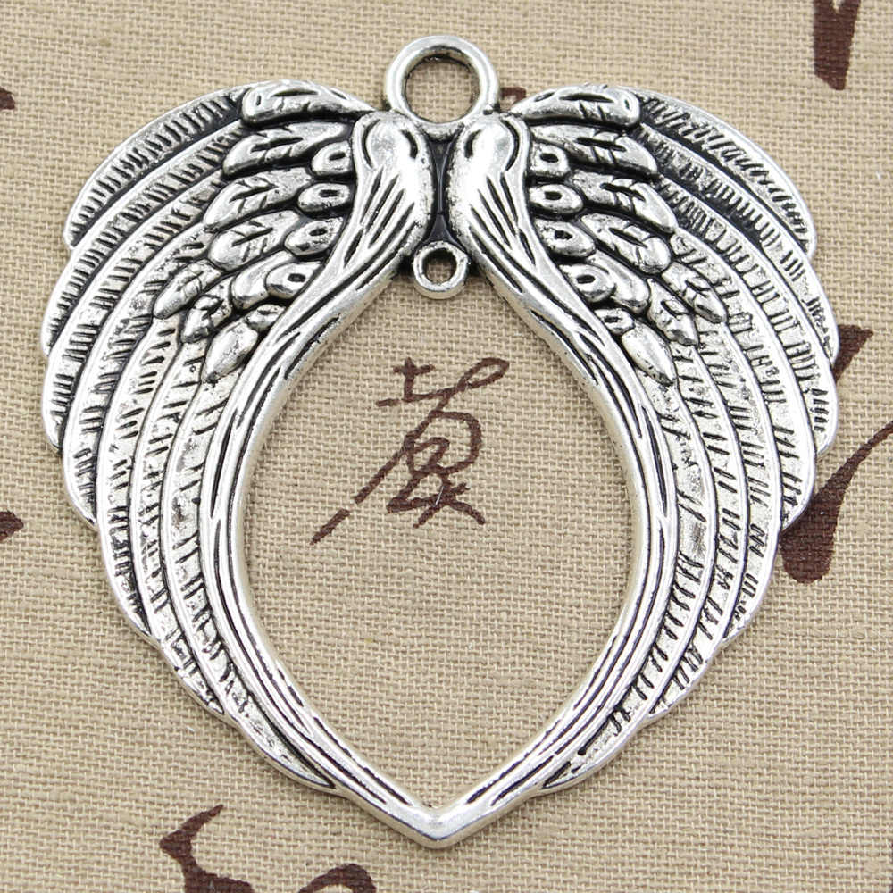 2pcs Charms big angel wings 74x69mm Antique Silver Bronze Pendants DIY Necklace Crafts Making Findings Handmade Tibetan Jewelry