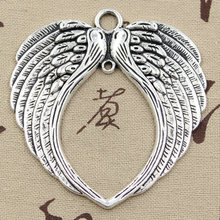 2pcs Charms big angel wings 74x69mm Antique Silver Pendants DIY Necklace Crafts Making Findings Handmade Tibetan Jewelry(China)