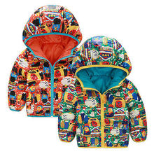 Kid Baby Boys Toddler Cartoon Hoodies Both Sides Zipper Down Warm Jacket Padded Coat Outwears Snowsuits