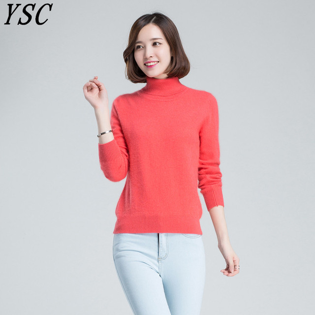 YUNSHUCLOSET Winter Hot Sales Women's Knitted Cashmere Wool Sweater Turn-down collar Pure color plane pullovers Free Shipping