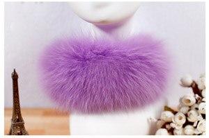 SCM043 шарф из лисьего меха шарфы-повязки на шею теплая накидка шаль-пончо снуд много цветов 57*12 см - Цвет: lila