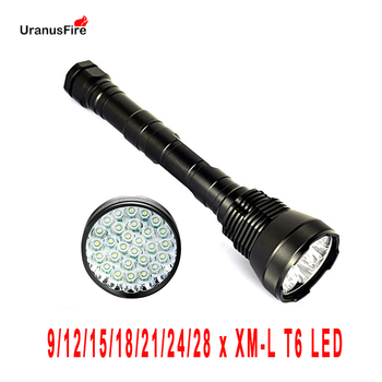 Uranusfire T6 LED Flashlight 72000LM 5 Modes Camping Tactical Torch Lamp 9 12 15 18 21 24 28  XML T6 Outdoor Hunting light securitying 20000 lumen 8x xml t6 5 modes led flashlight super bright torch portable light for outdoor camping hiking