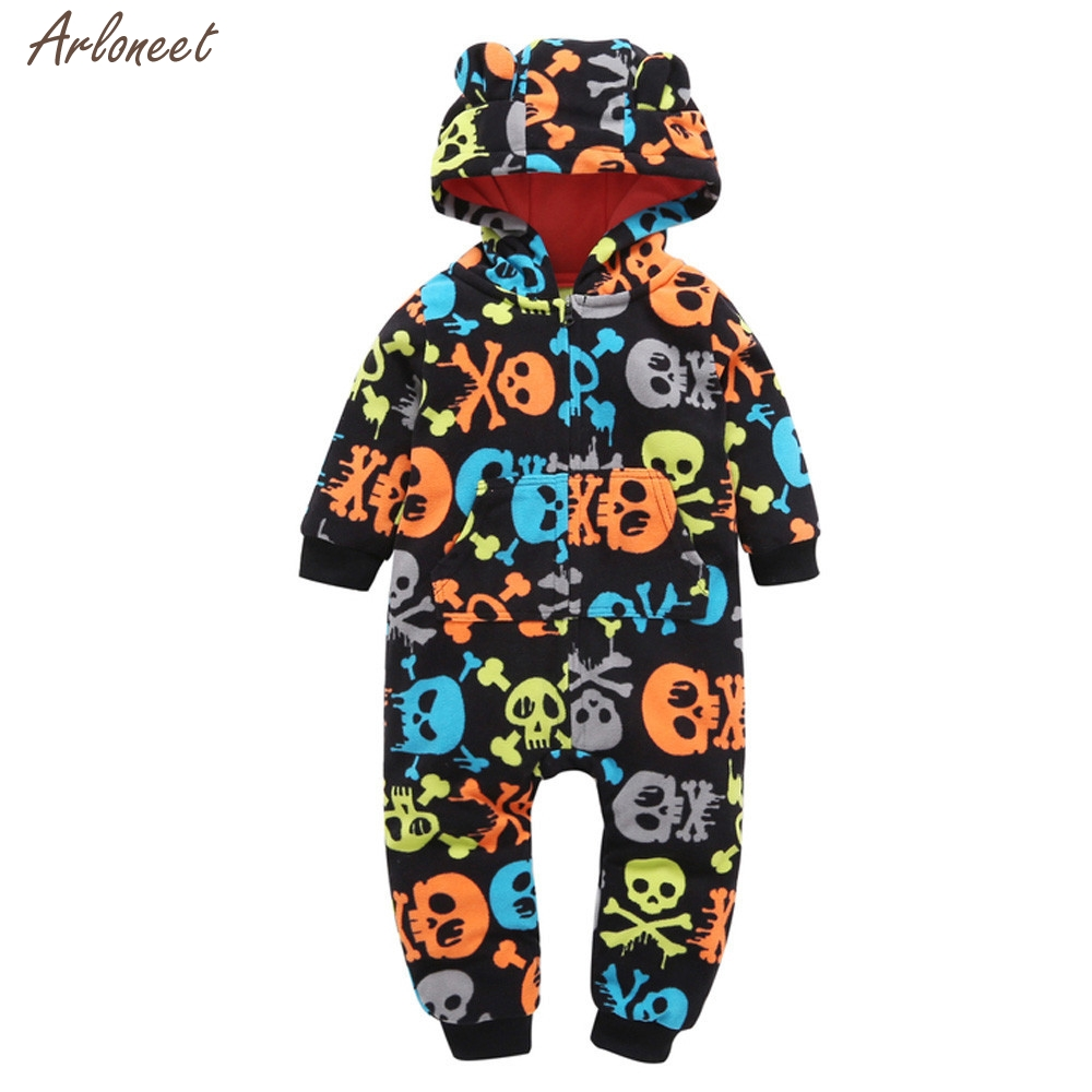2017 Infant Baby Boy Girl Thicker Skull Hooded Romper Jumpsuit Outfit Home Clothes Fantasy