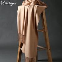 DANKEYISI Luxury Winter Scarf Women Thicken Warm Scarves Wool Cashmere Scarf Man Wrap Pashmina Tassels Solid