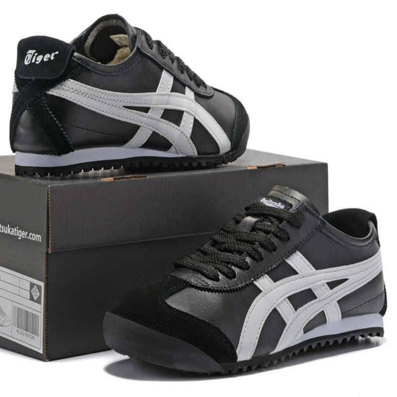 promo code f1a79 43362 ONITSUKA TIGER Men's Shoes MEXICO 66 Black Gold Black White Leather Rubber  Anti-slippery Women Sneakers Badminton Shoes