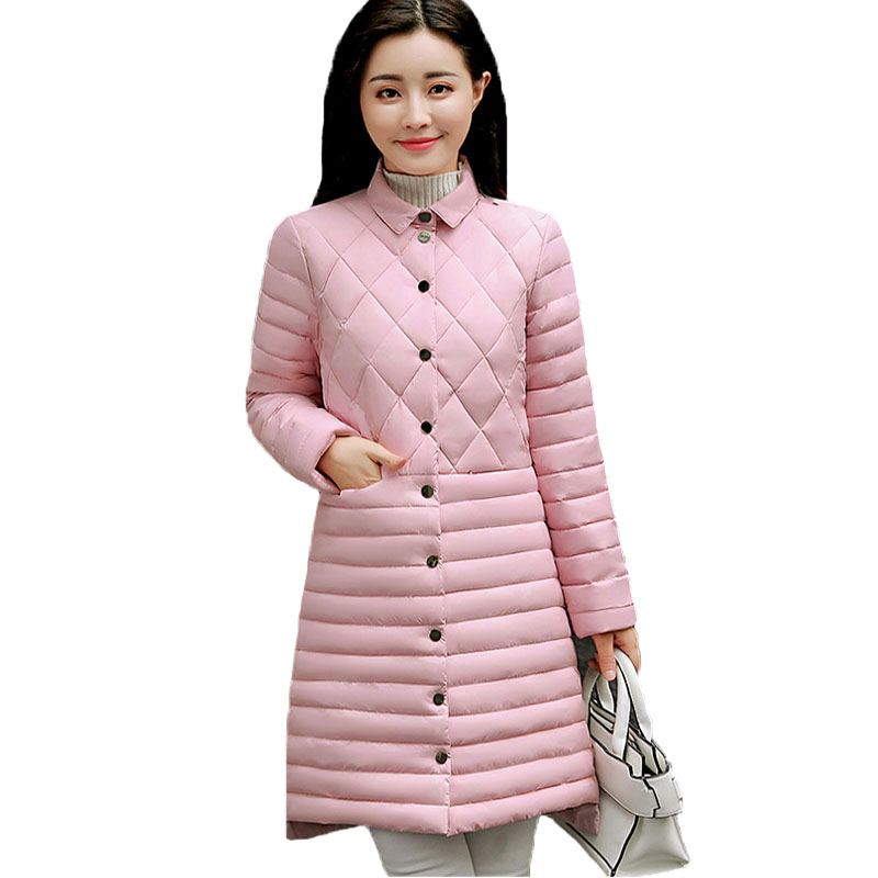 New 2017 Autumn Winter Jacket Women Casual Long Sleeved Medium Long Slim Thin Padded Parksa Casaco Feminino Plus Size Coat