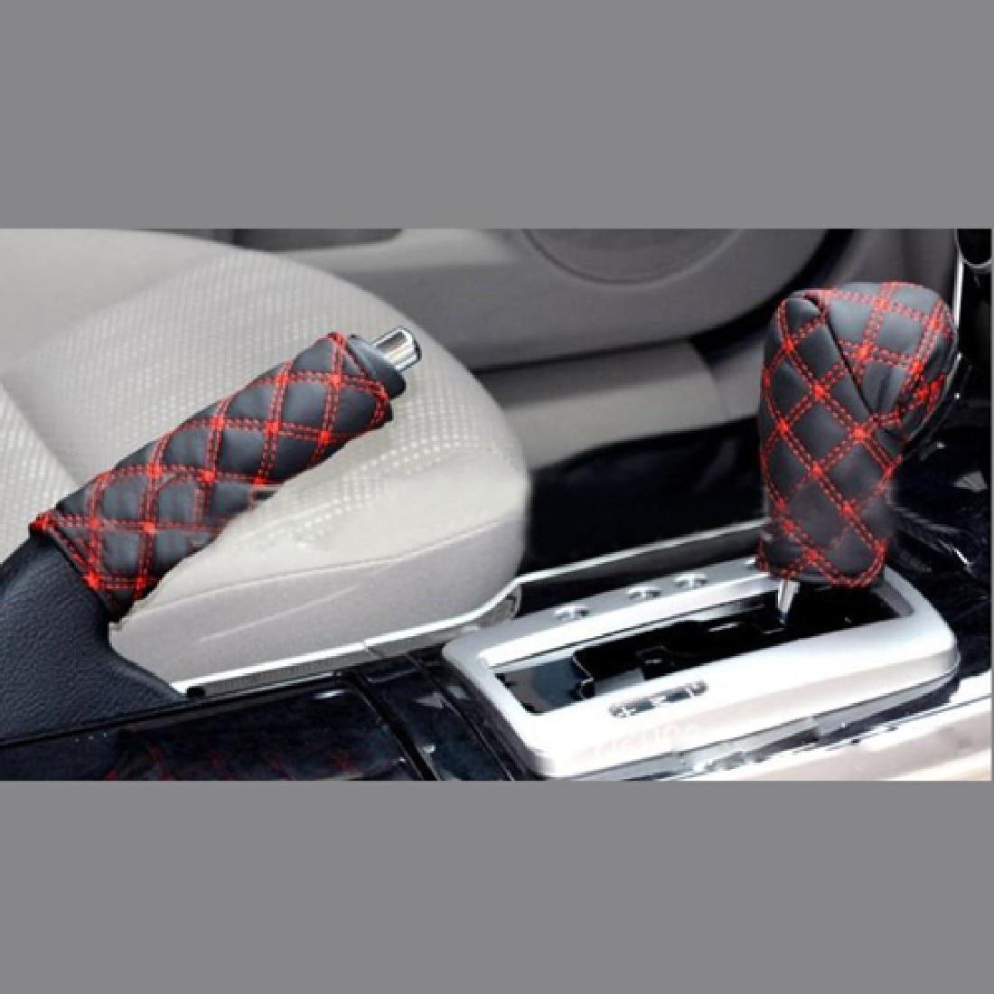 CAR-partment 1 Set/2pcs DIY Universal Grid Microfiber Auto Car Decoration Gear Set Hand Brake Case Holder Protectors Red White