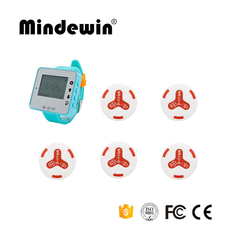 Mindewin Restaurant Equipment Wireless Pager System 1pc M-W-1 Watch Pager +5pcs M-K-4 Call Waiter Service Button Calling Pager digital wireless call pager system for restaurant equipment 5 receiver for waiter and 42 service buzzer for guest use