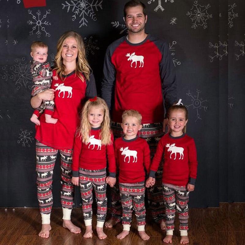 Christmas Paternity Clothes Fashion Deer Parenting Home Suits Men Women Suits Long-sleeve Cotton   Pajamas     Sets   Plus Size 2XL