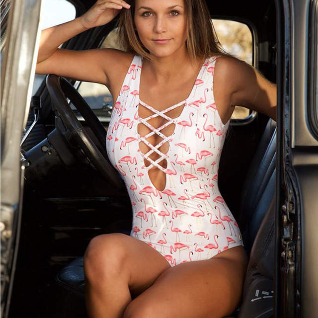 sale buy good stable quality US $10.31 55% OFF|New Back Bandage Swimwear One Piece Swimsuit Flamingo  Monokini Sexy Cut Out Swimming Costumes Bathing Suit Maillot Trikini-in  Body ...