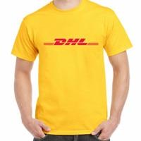 קיץ 100% הכותנה DHL מכתבי חולצת T לוגו מודפס צהוב mens מזדמן o צוואר שרוול קצר חולצות מותג clothing מצחיק חולצה
