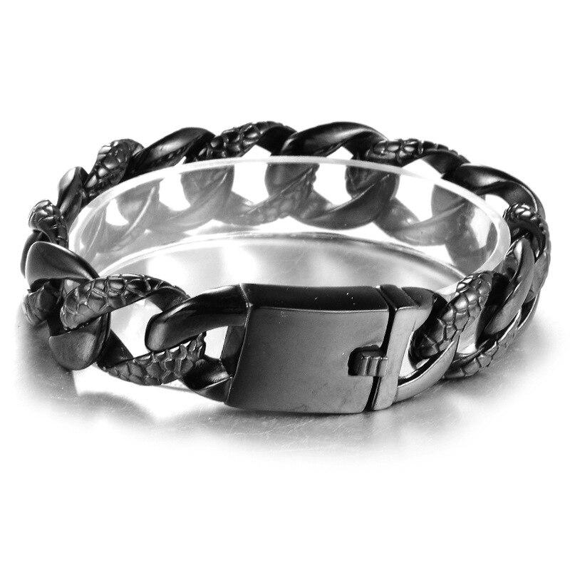 Chain Bracelet Bangle Punk Titanium Steel Bracelet Men Gold black silver Bangle 2pcs delicate titanium steel chain bracelet for men