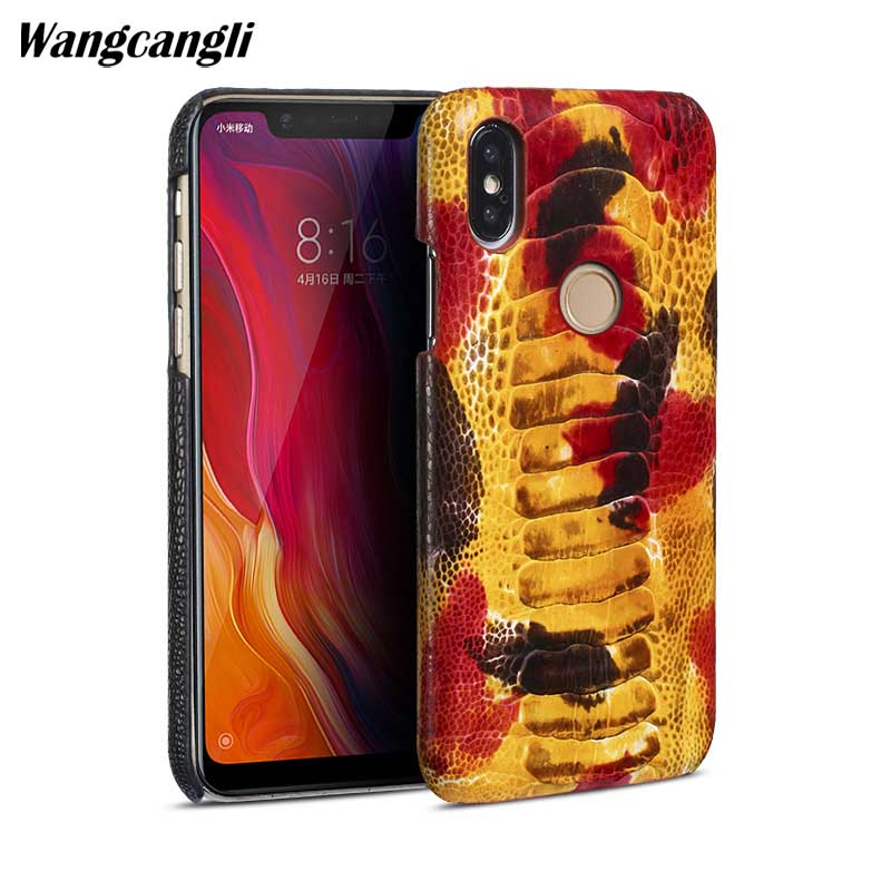 D'autruche pied peau étui de téléphone pour xiaomi 8 Véritable étui de téléphone portable en cuir Demi-paquet étui de protection Arrière d'empreintes digitales style