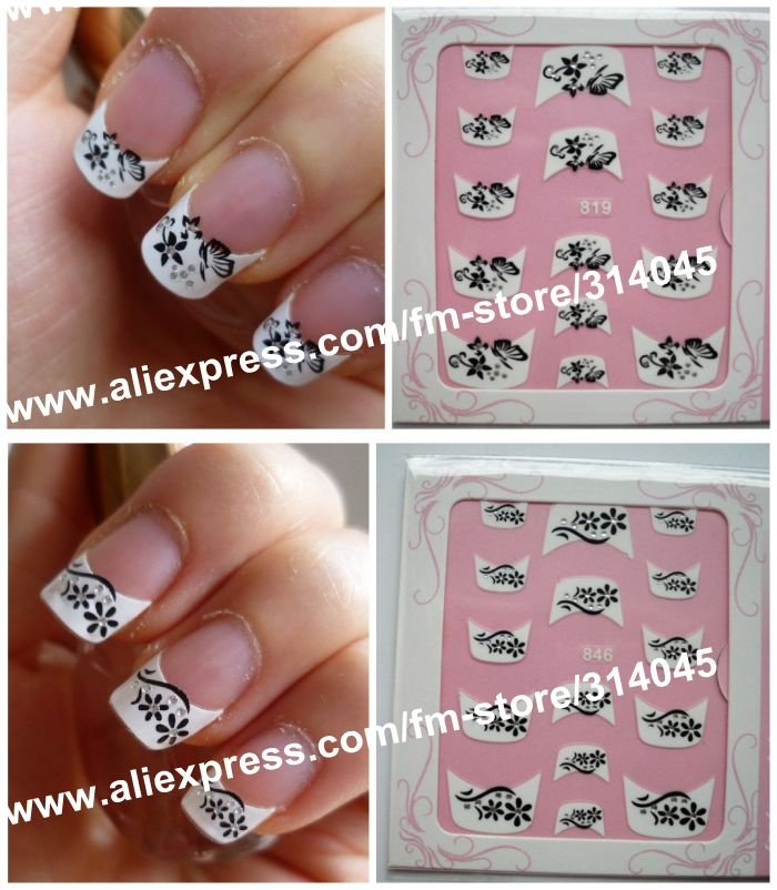 Newest 74 Styles 3D French Nail Sticker,3D French Nail Seal,French ...