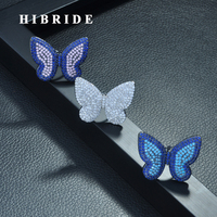 HIBRIDE High Quality Fashionable Unique Adjustable Ring Micro Paved Shining CZ Movable Butterfly Shape Jewelry Party Gift R 261