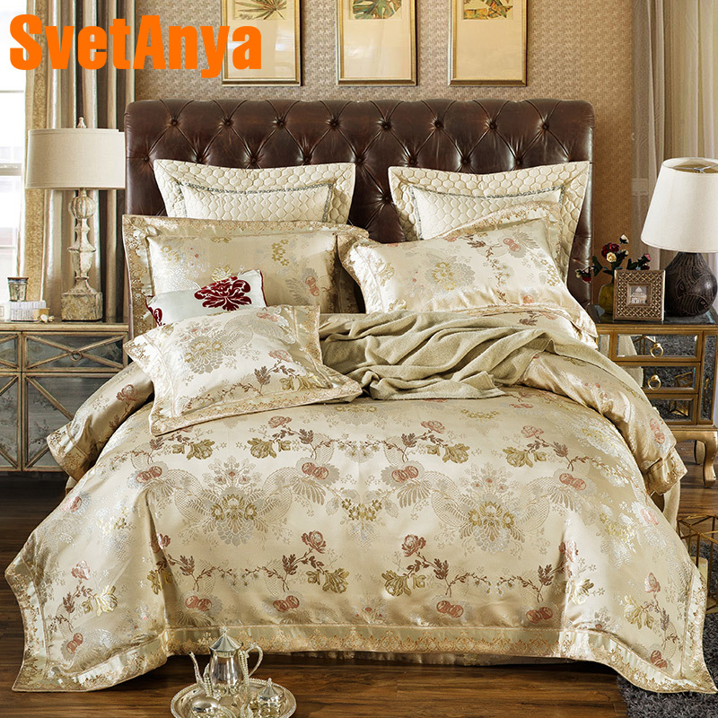 Svetanya Floral Jacquard Bedding Sets Queen King Size Bed Linens (Duvet Cover + Pillowcses + thin or thick Bedsheet)
