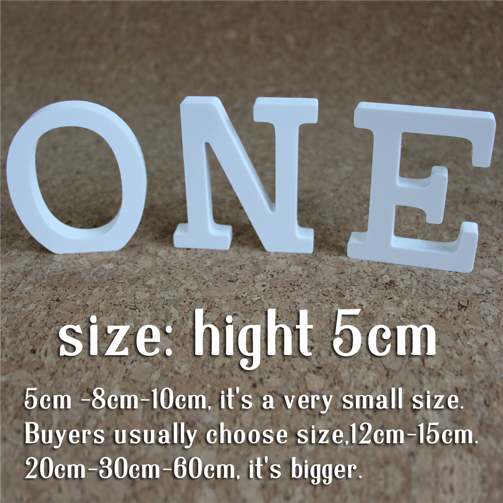 Hight 5cm Artificial Wood Wooden White Letters Alphabet ZAKKA Wedding Decoration Home Decoration Imitation Wood Letter