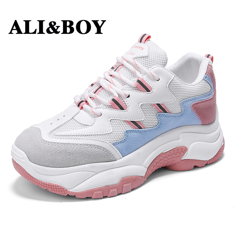 ALIBOY White Women Running Shoes Tennis Brand Retro Platform Sneaker Lady Autumn footwear Black Breathable Sneakers for Women
