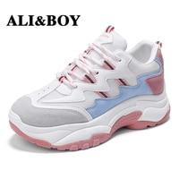 ALIBOY White Women Running Shoes Tennis Brand Retro Platform Sneaker Lady Autumn footwear Black Breathable Sneakers for Women