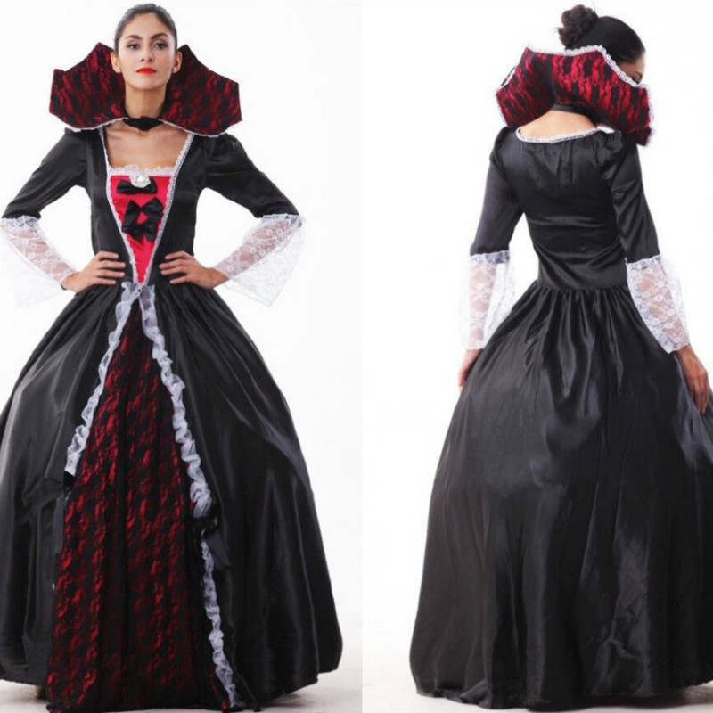 2018 New Sexy Woman Adult Dracula Renaissance Dress Gothic Vampire Fancy Gown Long Dress Halloween Party Costume